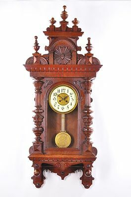 Gorgeous Antique German Spring Driven Wall Clock approx. 1890