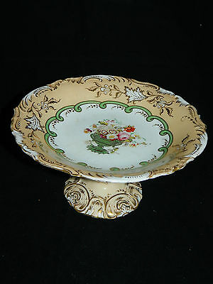 Antique English Coalport porcelain comport, cake stand with hand painted flowers