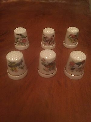 "Set of 6 Porcelain Bird Thimbles with ""Gold"" Trim"