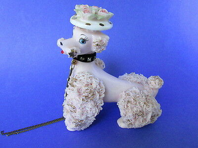 Vintage Pink Spaghetti Ceramic French Poodle Figurine Made in Japan, Mama Only