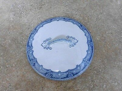 """Antique Ironstone Chamber Pot or Casserole Lid~Unmarked~8 1/8"""" Blue & White"""