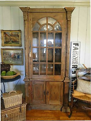 Antique French Rustic Farm Cabinet Display China Oval Door Salvaged Wood key