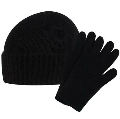 Thermal Beanie hat Magic gloves set Black  Turn Up Winter Skull Ski Cap