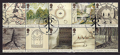 2004 Lord Of The Rings Vfu Block Of 10 With Fdi Spl Handstamps. Cat £10.00