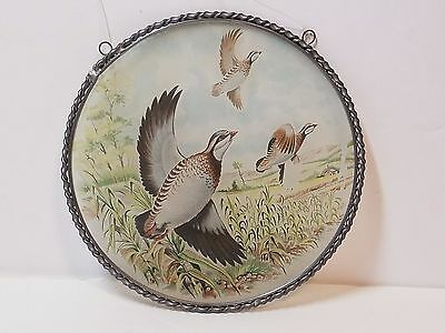 Vtg Antique Stove Pipe Flue Chimney Cover Glass Tin Partridge Bird 1900s Germany