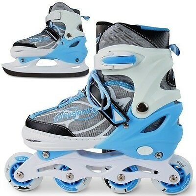 2-in-1 Kid's Ice Skates and Roller Blades size 5+
