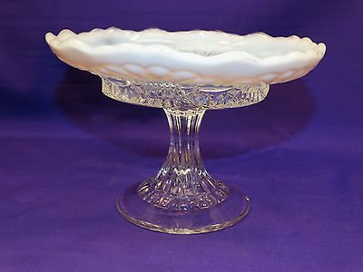 "Vintage Eapg Jefferson Glass White Opalescent ""tokyo"" Round Stemmed Compote"