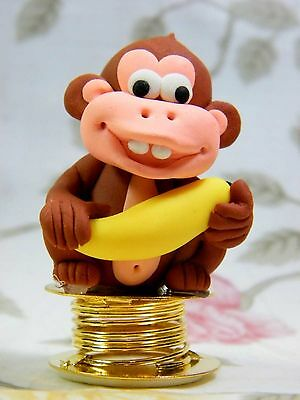Wobble Monkey Bobble Spring Car Dashboard Polymer Clay Sculpted Novelty #04