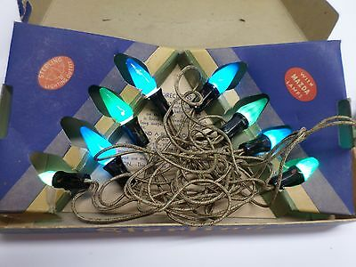 "Vintage CHRISTMAS ""STERLING"" TREE LIGHTS - #301- Eight (8) C6 Bulbs/Original Box"