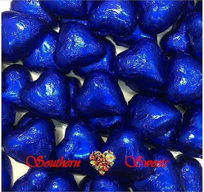 1Kg Dark Blue Foiled Hearts Milk Chocolate Choc Blue Lollies Bulk Candy Buffet