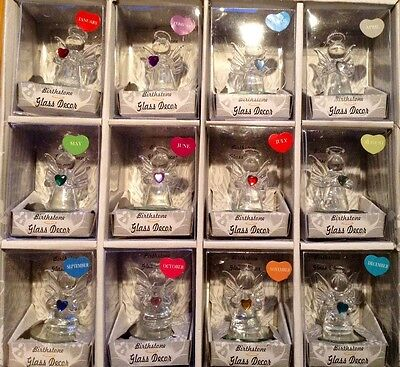 Birthstone GLASS ANGELS ..glass Angel in box with coloured Heart,