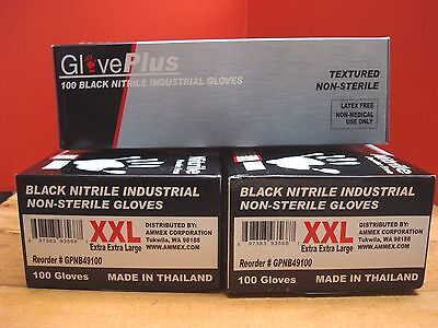 LOT OF 3 XXL **OVERSTOCK** Black Nitrile Glove 100/Box 5 mil Latex&Powder FREE
