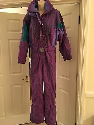 Womens Skisuit Nevica Skiwear Purple All In One Uk36L (10-12) USA 10 RETRO