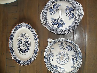 Vintage Blue and white woods ware serving dishes and platter