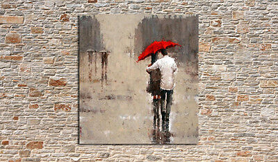 Hand-painted Lovers Walking in the Rain Abstract Oil Painting Wall Art on Canvas