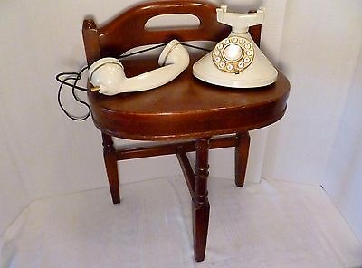 Vintage MID-CENTURY 3-Leg Wood TELEPHONE Gossip BENCH Portable ACCENT TABLE
