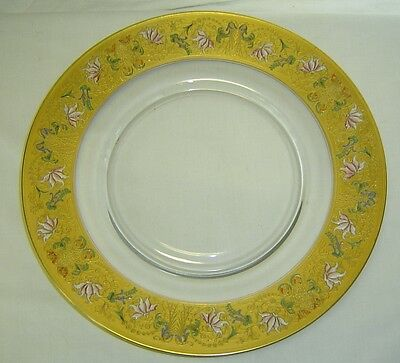 "Antique Gold Encrusted & Floral Enamel Painted Glass 14"" Plate Platter Bohemian"