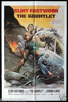 THE GAUNTLET Original One sheet Movie poster CLINT EASTWOOD Very rare