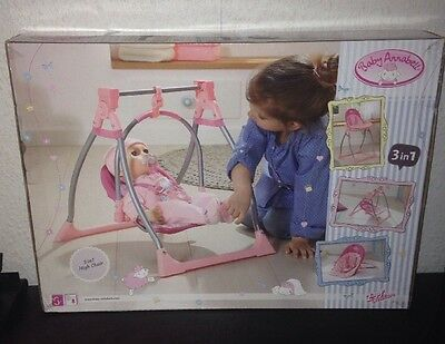 Baby Annabell 3 in 1 Doll Highchair Swing Comfort Seat Role Play Fun Furniture