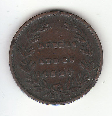 1827 Argentina Buenos Aires 5/10 Real Provincial Coin  KM# 3