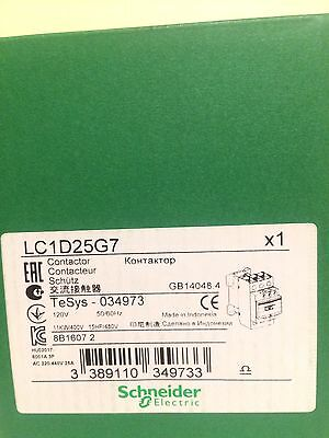 Schneider Electric, Lc1D25G7 Contactor, 120Vac Coil, 3-Pole, Brand New!