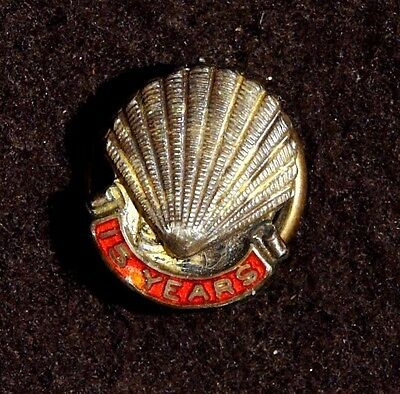 Shell Oil Petroleum Gas Gasoline Vintage Old Rare 15 Years Year Lapel Pin Nov2