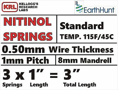 "3x Lot NITINOL HELICAL SPRINGS (1""Long x .5mm Thick) Stan Temp 115f Shape Memory"