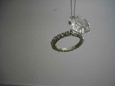 """Solitaire Faux """"Diamond"""" Silver Band Engagement Ring Valentine Ornament NWT"""