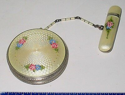 LP17 (B4) Art Deco Sterling Silver Enamel Guilloche Compact with Lipstick Holder