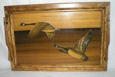 Vintage Wood Tray Decoupage Geese Carved Shotgun Handles 18.5x13 Wall Hanging