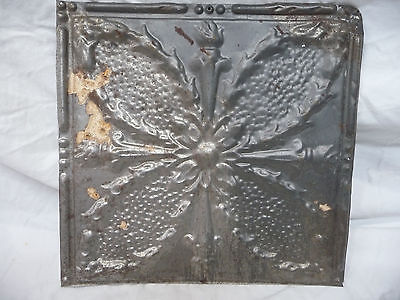 """12"""" x 12"""" Antique Tin Ceiling Tile - Four Torch Pattern Architectural Salvage"""