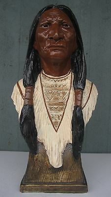"""Vtg 18"""" Tall Chalkware Cigar Store Native American Indian Bust Great Condition!"""