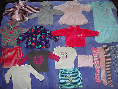 bulk 17 items of baby girl winter clothes size 1, 2x coat, sleeping bag, jumpers