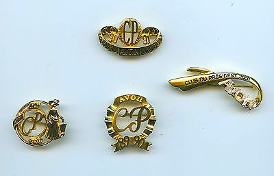 French Avon President's Club Pins 1989 90 91 92 2000 Lot Of 4 Unusual Designs