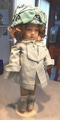 "17"" RARE English CHAD VALLEY Glass Eyes BAMBINA Cloth DOLL ALL ORIGINAL & extras"