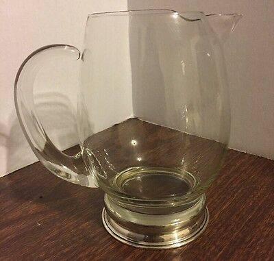 """Wallace Sterling Silver & Crystal Glass Cocktail Water Pitcher 28-OZ 6.5"""""""