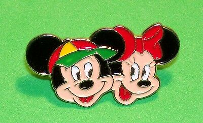 Mickey Mouse & Minnie Mouse Faces Disney Character Lapel Pin Gold Tone Metal Pin