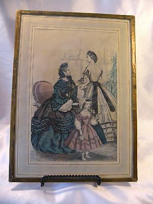 Godey's Lady's Book & Magazine Fashion Print, Hand Colored, Oct 1862.