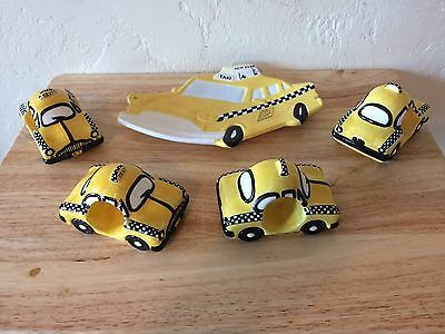 Open Candy Dish and four Napkin Rings New York City Yellow Taxi by Studio Nova