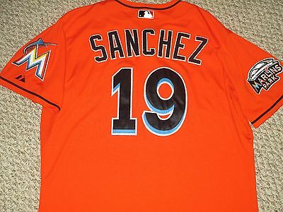 TWO PATCH Anibal Sanchez SZ 46 #19 2012 Miami Marlins Game used jersey Alt red