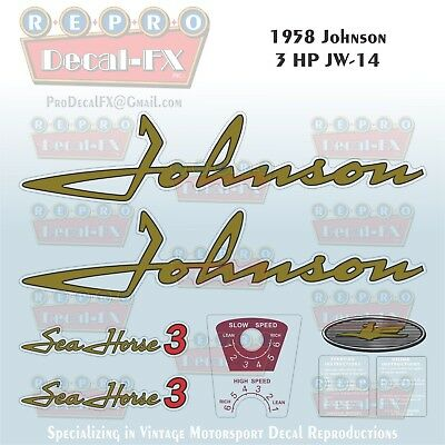 1958 Johnson 3 HP  JW-14 Sea Horse Outboard Reproduction 8 Piece Vinyl Decals