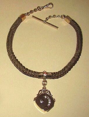 Antique ~ VICTORIAN Woven HAIR 4 PATTERN Rose Gold F WATCH CHAIN Locket NECKLACE