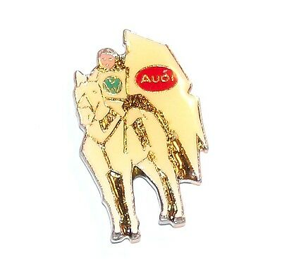 Vw Armored Knight Riding A Horse With Audi Flag Car Lapel Pin Silver Tone Metal