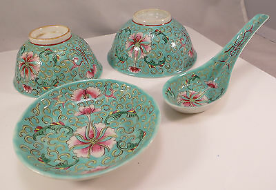 Antique Chinese Porcelain Teal Shou Mark Bowls, Saucer, Spoon Set (2 of 2) China