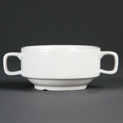 6x Olympia Whiteware Soup Bowl With Handles 115mm Kitchen Serving Dishes