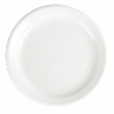 12x Olympia Whiteware Narrow Rimmed Plates 180mm Serving Kitchen Tableware