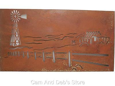 Metal Cut Out Rustic Windmill Wall Hanging Art Sculpture Indoor Or Outdoor
