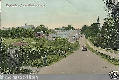 Uppingham from London Road  children cart church Old Unposted Postcard