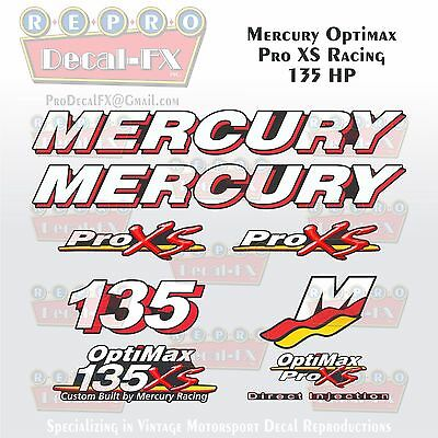 Mercury Marine Racing Optimax Pro XS 135HP Outboard Reproduction Decals 9 Pc