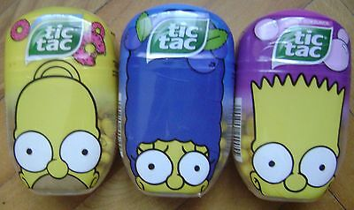 NEW TIC TAC SWEETS 3 x 98g THE SIMPSONS DONUT BUBBLE GUM BLUEBERRY FERRERO